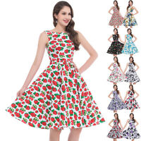 FLORAL/Cherry Print Vintage Swing Evening 50s Retro Pin Up Prom Dress