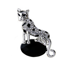 Silver Plated Prom Girl Lady Brooch Pin Animal Beast Leopard Jewelry For Women