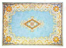Rug - Blue & Terra Cotta Oriental Medallion Design Handpainted by LEE Needle Art