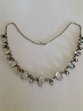 Beautiful Fine Victorian Sterling Silver Cabouchon Moonstone & Crystal Necklace