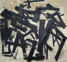 Vintage Abstract Canvas Signed Franz Kline,  Modern Old 20th Century Art Antiqu