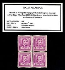 1949 - EDGAR ALLAN POE - Vintage Mint -MNH- Block of Four Postage Stamps