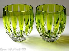AJKA LAUSANNE LIME PARIDOT CASED CUT TO CLEAR WHISKEY SCOTCH DOF Set of 2