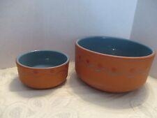 Set of 2 HiMark Pottery Terra Cotta/Aqua Glazed Chip/Dip Serving Bowls Portugal