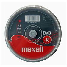10x NEW MAXELL BLANK DVD-R 16x Speed 4.7GB 120min DVDR DISCS - Spindle Pack