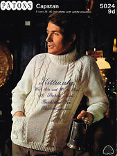 Knitting Pattern Mans polo neck cabled aran sweater jumper patons 5024