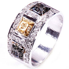 1.70,ct RAW WHITE & GOLDEN NATURAL DIAMOND .925 SILVER RING SIZE 9 see video