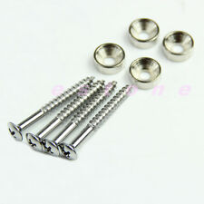 1 Set of 4pcs Guitar Neck Joint Ferrules and Screws Silver For Guitar Bass