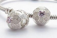 DAHLIA FLOWER CLIP CHARM Bead Sterling Silver.925 for European Bracelet 642