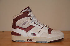 Vintage 80's M-100 PONY Basketball Shoes White Burgundy Men's sz 13