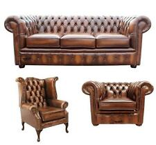 Chesterfield 3 Seater + Wing + Club Chair Antique Tan Leather Sofa Settee Suite