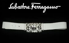 Salvatore FERRAGAMO ~ RARE white off belt ~ snake Wallet buckle ~ AUTHENTIC