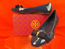 NIB TORY BURCH NAVY PATENT LEATHER TRUDY BOW GOLD REVA SMOKING FLATS 9 $250