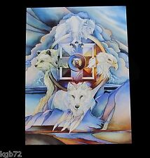 Leanin Tree White Buffalo Wolf Dreamcatcher Blank Greeting Card MultiColor R255
