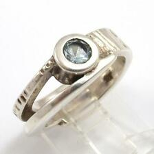 Modernist Sterling Silver Blue Aquamarine Solitaire Ring Size 7.5