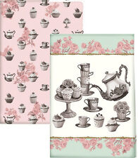 Set of 2 KATIE ALICE Cupcake Couture SHABBY CHIC Cotton Tea Towels