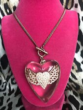 Betsey Johnson Vintage HUGE Clear Lucite Winged Heart Rose Gold Necklace RARE