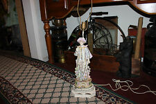 Antique Victorian Figural Table Lamp-Man Holding Cup-Victorian Clothing-LQQK
