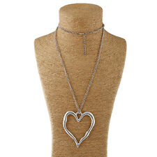 Large Silver Metal Loving-Heart Charm Pendant Long Curb Chain Necklace Lagenlook