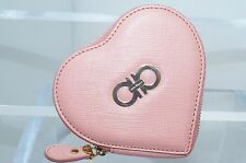Salvatore Ferragamo Women's Heart Pink Wallet Coin Purse Pouch Leather NEW