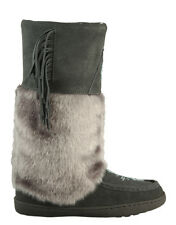 BRAND NEW WOMENS GREY MUKLUK BOOTS, REAL LEATHER SUEDE - SIZE 7