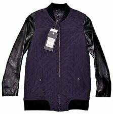 RAG & BONE Leather/Wool/Silk Jacket, Black & Purple XS USA $995