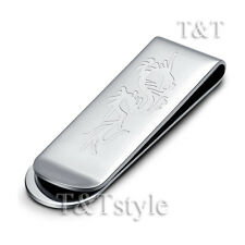 T&T 316L Silver Stainless Steel Dragon Money Clip (MC15S)