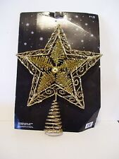 10 IN METAL HOLOGRAPHIC GOLD GLITTER STAR TREE TOPPER CHRISTMAS DECORATIONS