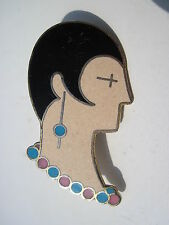 Vintage Enamel Deco Flapper Lady Head Brooch