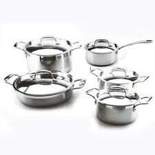 LEISURE MAN 10 PCS Full Tri-Ply Clad Stainless Steel Cookware Set. Dutch Oven