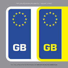 SKU1104 2 x GB Euro Number Plate Stickers EU European Road Legal Car Badge Vinyl