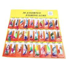 Lot 30Pcs Assorted Minnow Fishing Lures of Feather Metal Hook Hard Bait Tackle