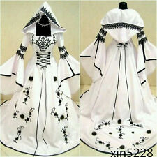 2017 Celtic Black White Wedding Dress with Hat A Line Bridal Gown Corset Custom
