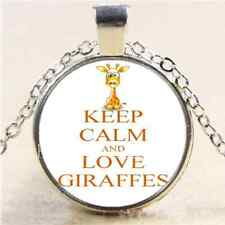Keep Calm and Love Giraffe Photo Cabochon Glass Tibet Silver Chain Necklace