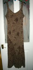 M & S PER UNA LADIES SIZE 18 LONG BROWN MIX DRESS