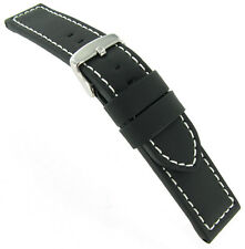 22mm Hadley Roma Stitched Black Silicone Layered Over Leather Watch Band