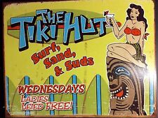 Tiki Hut TIN SIGN surfer Beach Tropical Lounge Bar Vtg Metal Wall Decor