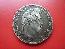 1833 H France Large Silver 5 Franc Coin (Low mintage H mint mark)