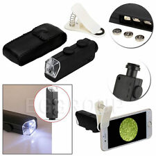 100X Optical Zoom Mobile Phone LED Microscope Lens W/Clip For iPhone 5 6 6S Plus