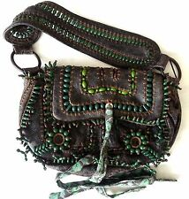 Jamin Puech Handmade Leather Cloth Beaded Art Hand Bag GREEN Purse Size M/L NEW