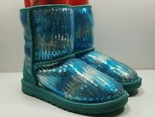 UGG Australia Classic Short Sequin Sparkle Wave Teal Blue Girls Youth Size 4 M