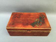Ancienne boite à en bois F L Paris lacures au ciseaux d'or antique box