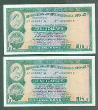 Hong Kong $10 HSBC cons pair HS 908215 - 216 1973 ef