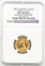 1887 Great Britain 1/2 Sovereign Jubilee Head NGC - Unc Det. Surface Hairlines