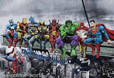 SUPERHEROS MARVEL DC COMICS ATOP SKYSCRAPER PICTURE POSTER HOME ART PRINT NEW