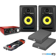 KRK Rokit 5 RP5 Studio Monitors, Focusrite Scarlett Solo (2nd Gen) Pads & Leads