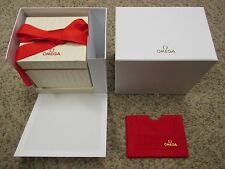New White OMEGA Watch or Chronograph Gift Box Set w/red Ribbon & Card Holder