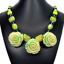 Vintage Green Rose & Sea Sediment Jasper Statement Necklace Bespoke Jewellery UK