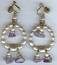 MIRIAM HASKELL HUGE VINTAGE RHINESTONE BAROQUE PEARL AMETHYST DANGLE EARRINGS