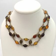 Vintage Sterling Silver Multi Color Natural Amber Double Strand Necklace 18""